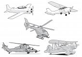 Set of vector air transport on white background