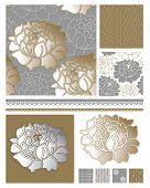 Metallic Floral Seamless Patterns and Icons.  Use to create fab digital paper for scrap booking or w
