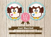 Cute owls just married wedding invitation card