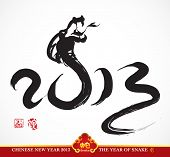 foto of chinese new year 2013  - Vector Snake Calligraphy - JPG