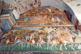 stock photo of suceava  - Byzantine fresco in old christian orthodox church in Romania Patrauti Suceava unknown author end of 15th century - JPG