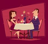 Girl and guy. Romantic date. Retro style vector illustration