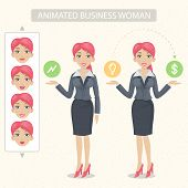 Business woman tells and represents