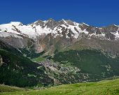 view of one of the most popular ski resorts in Europe - Saas Fee, Switzerland