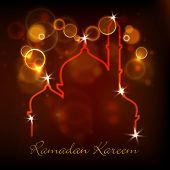 Illustration of Mosque on shiny abstract background for Ramadan Kareem.