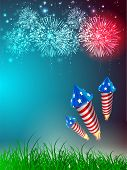 4. Juli American Independence Day Celebration Background with Fire Cracker.