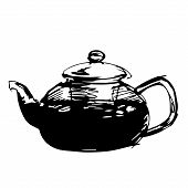 Sketched teapot in black wnd white background, vector illustration