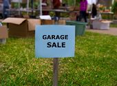 image of yard sale  - Garage sale in an american weekend on the yard green lawn - JPG