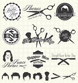 stock photo of gents  - Collection of retro style barber shop labels and icons - JPG