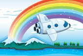 Illustration of a jetplane near the rainbow