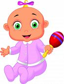Cute baby girl cartoon playing with musical toy