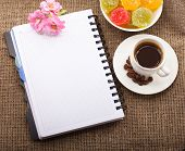 Blank Paper for your own text, Coffee, flowers