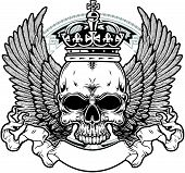 pic of terrorism  - skull with crown and wings with ribbon - JPG