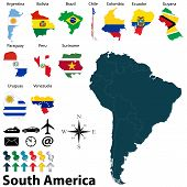 pic of south american flag  - Vector of political map of South America set with maps and flags on white background - JPG