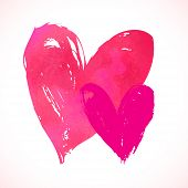 image of two hearts  - Vector grunge card with hand painted hearts on white background - JPG