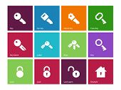 Key icons on color background.