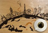 stock photo of stonehenge  - 3d coffeee cup with traveling around the world wooden background as concept - JPG