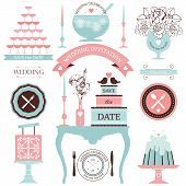 image of glass heart  - Vector collection of decorative wedding dinner elements - JPG