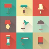 pic of lamp shade  - vector icons set lamps flat various styles - JPG