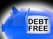 pic of debt free  - Debt Free Piggy Bank Coins Meaning Money Paid Off - JPG