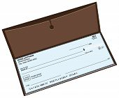 picture of blank check  - Leather checkbook with a pocket for storing copies of checks - JPG