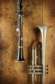 stock photo of clarinet  - Old Horns - JPG