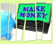 stock photo of accumulative  - Make Money Piggy Bank Meaning Accumulating Wealth And Prosperity - JPG