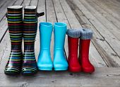 foto of shoes colorful  - Three pairs of a colorful rain boots - JPG