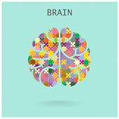 stock photo of left brain  - Creative jigsaw left and right brain on background - JPG