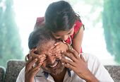 stock photo of daddy  - Happy Indian family at home - JPG