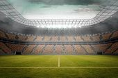 picture of football pitch  - Digitally generated football pitch in large stadium - JPG