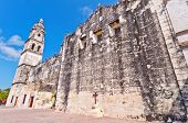foto of conquistadors  - day view of Cathedral in Campeche - JPG
