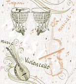 image of timpani  - hand drawn seamless pattern of  musical instruments - JPG