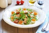 stock photo of quail  - Fresh holiday salad with salmon - JPG