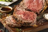stock photo of rib eye steak  - Homemade Grass Fed Prime Rib Roast with Herbs and Spices - JPG