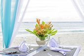 stock photo of wedding arch  - wedding arch and set up on beach - JPG