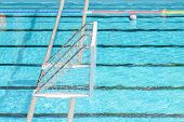 pic of swim meet  - Water Polo Goal And Ball In Swimming Pool - JPG