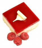 pic of torte  - Raspberry torte cheesecake with fresh raspberries isolated on a white background - JPG