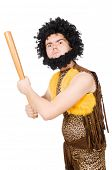 stock photo of hirsutes  - Funny cave man with baseball bat isolated on white - JPG