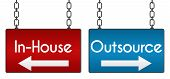 picture of off-shore  - Outsource inhouse concept image with boards hanged with chains - JPG