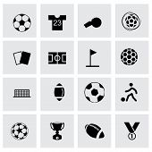stock photo of offside  - Vector soccer icon set on grey background - JPG