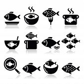 foto of fish icon  - Vector food icons set  - JPG