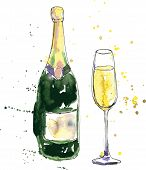 stock photo of champagne color  - champagne bottle and glass - JPG