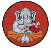 stock photo of enlightenment  - An illustration of an elephant meditating to gain enlightenment - JPG