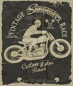 foto of driving school  - vintage race car and moorcycle for printing - JPG