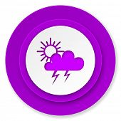 storm icon, violet button, waether forecast sign  poster