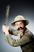 picture of safari hat  - Man in safari hat in hunting concept - JPG