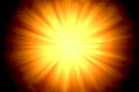 foto of sun rays  - Centered sun flare or fire ball on dark background - JPG