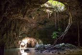 image of cenote  - Beautiful Cavern with fresh water Mayan history - JPG