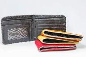 foto of cash cow  - Handmade leather pocket bag on white background - JPG